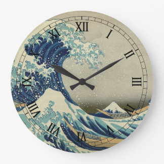 Vintage Japanese Art, The Great Wave by Hokusai Large Clock
