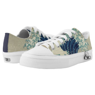 Vintage Japanese Art, The Great Wave by Hokusai Low-Top Sneakers