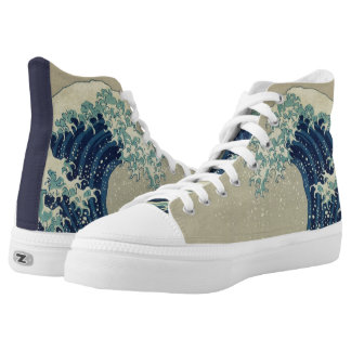 Vintage Japanese Art, The Great Wave by Hokusai Printed Shoes
