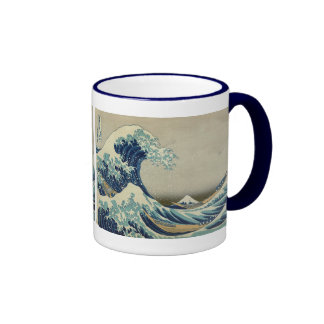 Vintage Japanese Art, The Great Wave by Hokusai Ringer Mug