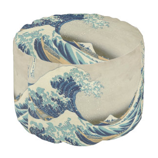 Vintage Japanese Art, The Great Wave by Hokusai Round Pouf
