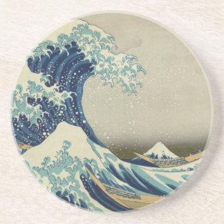 Vintage Japanese Art, The Great Wave by Hokusai Sandstone Coaster