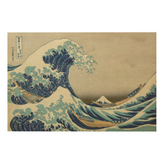 Vintage Japanese Art, The Great Wave by Hokusai Wood Wall Decor