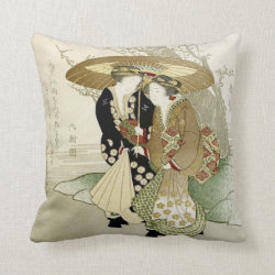 Vintage Japanese Art Throw Pillow