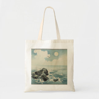 Vintage Japanese Art Waves on Rocks Tote Bag