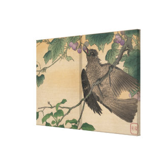 Vintage Japanese Artwork Bird Eating Grapes Stretched Canvas Print