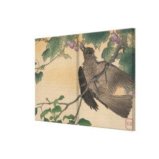 Vintage Japanese Artwork Bird Eating Grapes Canvas Print