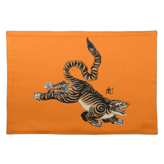 Vintage Japanese Artwork of Tiger with Long Tail Cloth Placemat