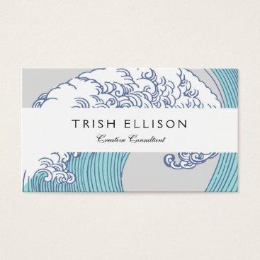 Beach Themed Vintage Japanese Artwork Print Wave Design Business Card