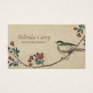 Vintage Japanese Bird and Blossom Art Business Card