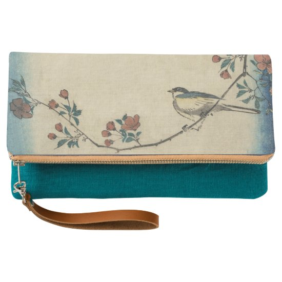 Vintage Japanese Bird and Blossom Art Clutch