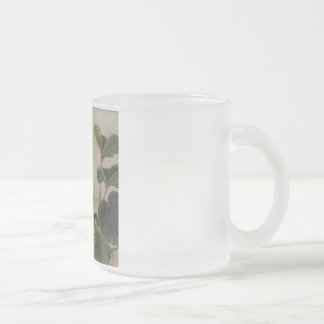 Vintage Japanese Bird Painting Frosted Glass Coffee Mug