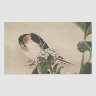 Vintage Japanese Bird Painting Rectangular Sticker