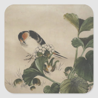 Vintage Japanese Bird Painting Square Sticker