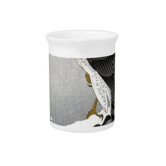 Vintage Japanese Bird Print Drink Pitcher