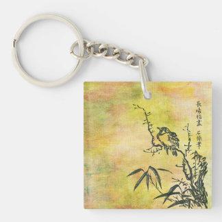 Vintage Japanese Bird Single-Sided Square Acrylic Keychain