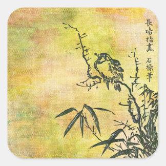 Vintage Japanese Bird Square Sticker