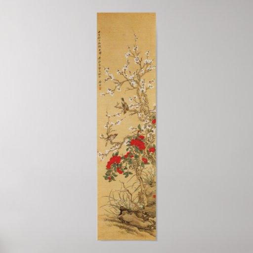 Vintage Japanese Birds and Flowers Print
