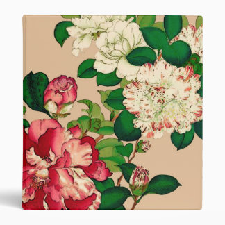 Vintage Japanese Camellias. Deep Pink on Beige Binder