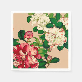 Vintage Japanese Camellias. Deep Pink on Beige Napkin