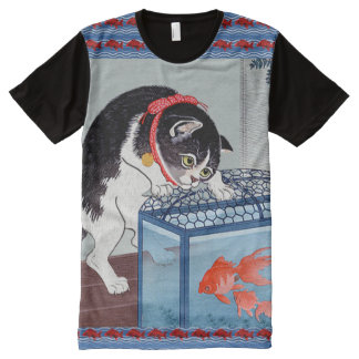 Vintage Japanese Cat and Fish Art T-Shirt All-Over Print T-shirt