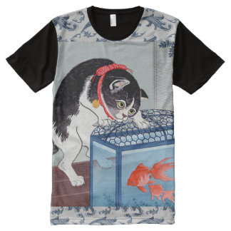 Vintage Japanese Cat and Fish Art Wave T-Shirt All-Over Print T-shirt