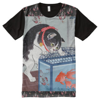 Vintage Japanese Cat and Goldfish Art T-Shirt All-Over Print T-shirt