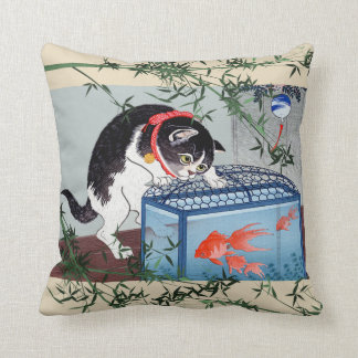 Vintage Japanese Cat and Goldfish Bamboo Art Throw Pillow