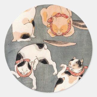 Vintage Japanese Cat Art Classic Round Sticker