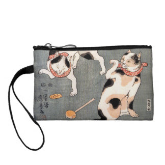Vintage Japanese Cat Art Coin Purse