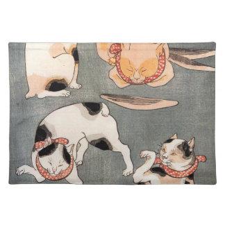 Vintage Japanese Cat Art Placemat
