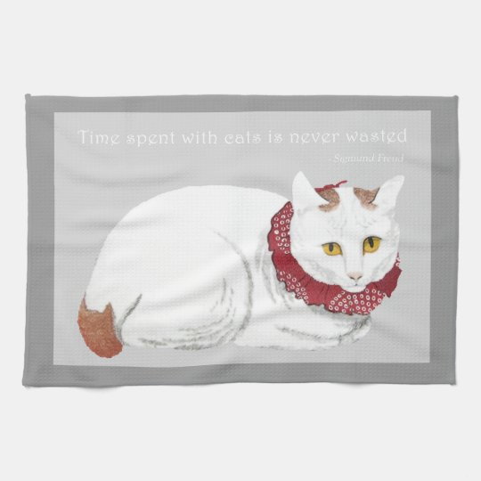 Vintage Japanese Cat Art Quote Kitchen Towel