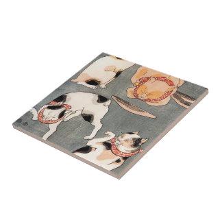 Vintage Japanese Cat Art Tile