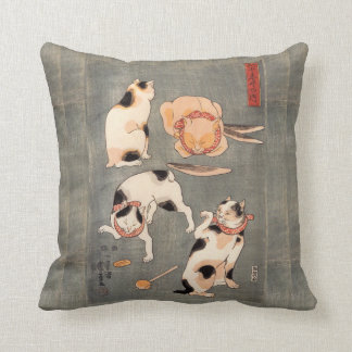 Vintage Japanese Cat Poses Throw Pillow