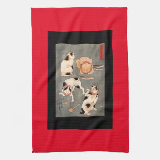 Vintage Japanese Cats Kitchen Towels