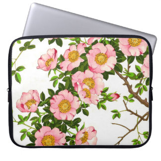 Vintage Japanese Cherry Blossoms, Pink and Gold Computer Sleeve