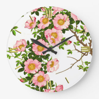 Vintage Japanese Cherry Blossoms, Pink and Gold Large Clock