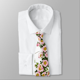 Vintage Japanese Cherry Blossoms, Pink and Gold Neck Tie
