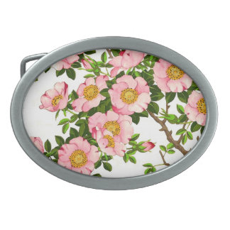 Vintage Japanese Cherry Blossoms, Pink and Gold Oval Belt Buckles