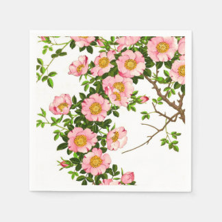 Vintage Japanese Cherry Blossoms, Pink and Gold Standard Cocktail Napkin