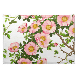 Vintage Japanese Cherry Blossoms, Pink and Gold Cloth Placemat