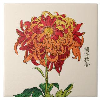 Vintage Japanese Chrysanthemum. Rust and Orange Tile