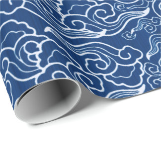 Vintage Japanese Clouds, Cobalt Blue and White Wrapping Paper
