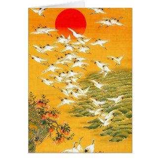 Vintage Japanese Cranes at Sunset Card