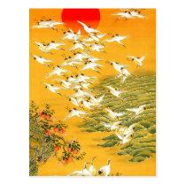 Vintage Japanese Cranes at Sunset Postcard