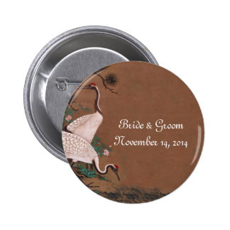 Vintage Japanese Cranes Wedding Invitations Button