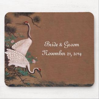Vintage Japanese Cranes Wedding Invitations Mouse Pad