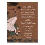 Vintage Japanese Cranes Wedding Invitations Postcards