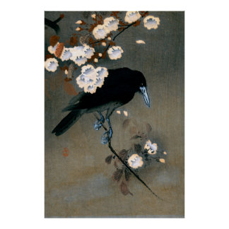 Vintage Japanese Crow and Blossom Woodblock Print