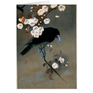 Vintage Japanese Crow and Blossom Woodblock Print Card